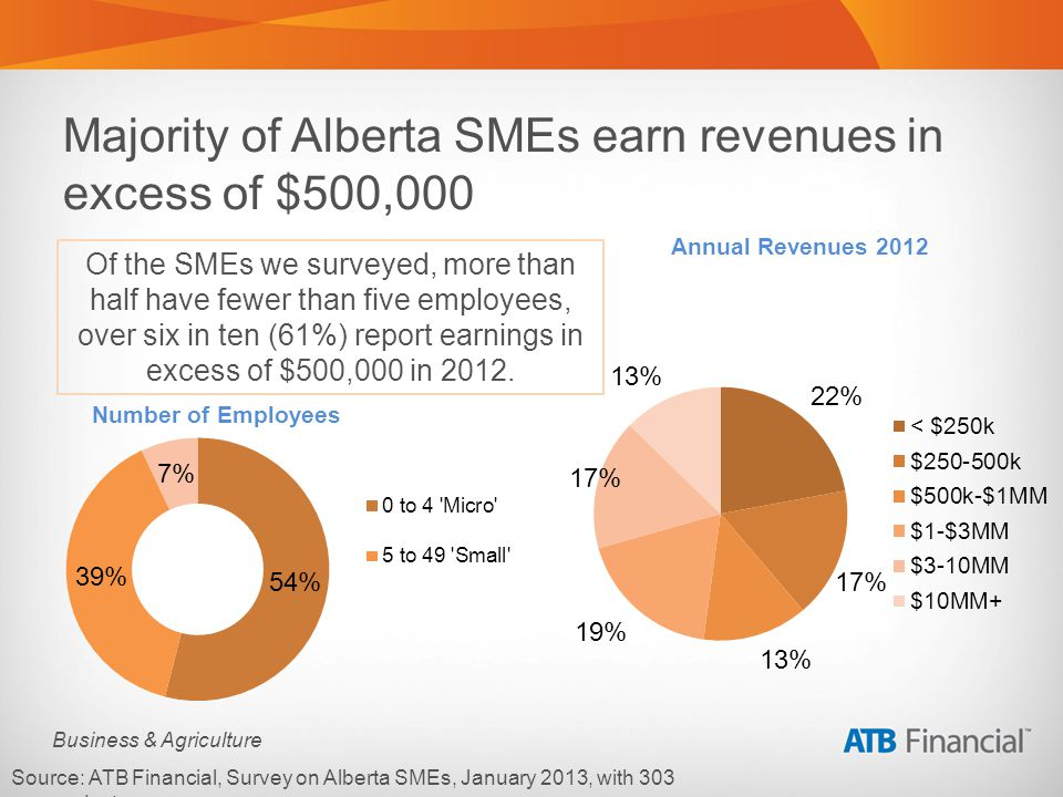 Business & Agriculture Majority of Alberta SMEs earn revenues in excess of $500,000 Source: ATB Financial, Survey on Alberta SMEs, January 2013, with