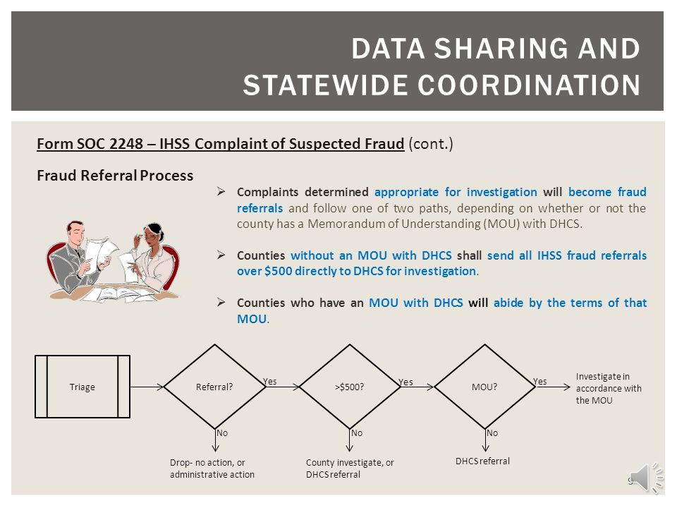 9 DATA SHARING AND STATEWIDE COORDINATION Form SOC 2248 – IHSS Complaint of Suspected Fraud (cont.) Fraud Referral Process Complaints determined appropriate for investigation will become fraud referrals and follow one of two paths, depending on whether or not the county has a Memorandum of Understanding (MOU) with DHCS.