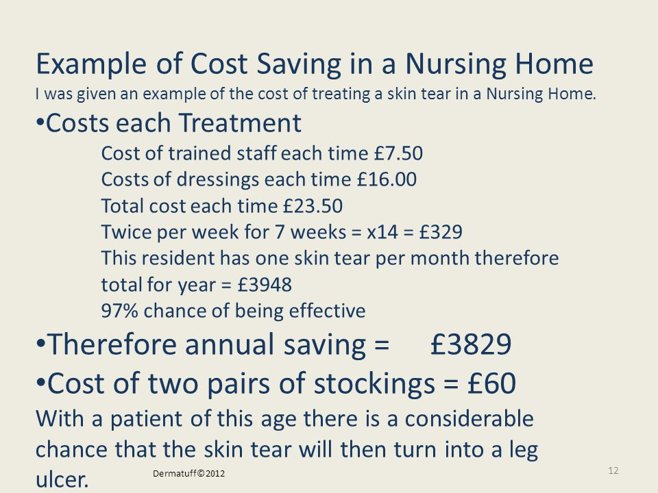 12 I was given an example of the cost of treating a skin tear.