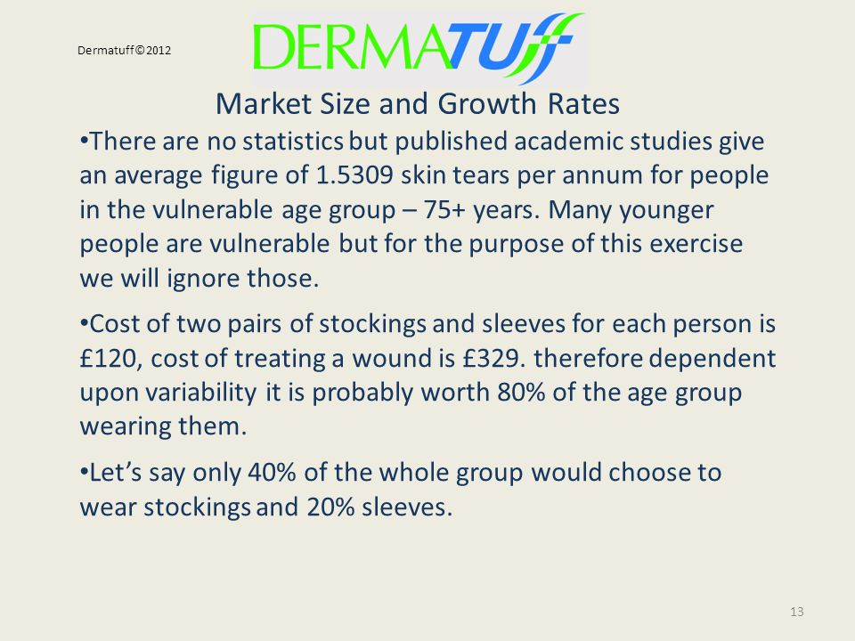 Market Size and Growth Rates 13 Dermatuff©2012 There are no statistics but published academic studies give an average figure of 1.5309 skin tears per annum for people in the vulnerable age group – 75+ years.