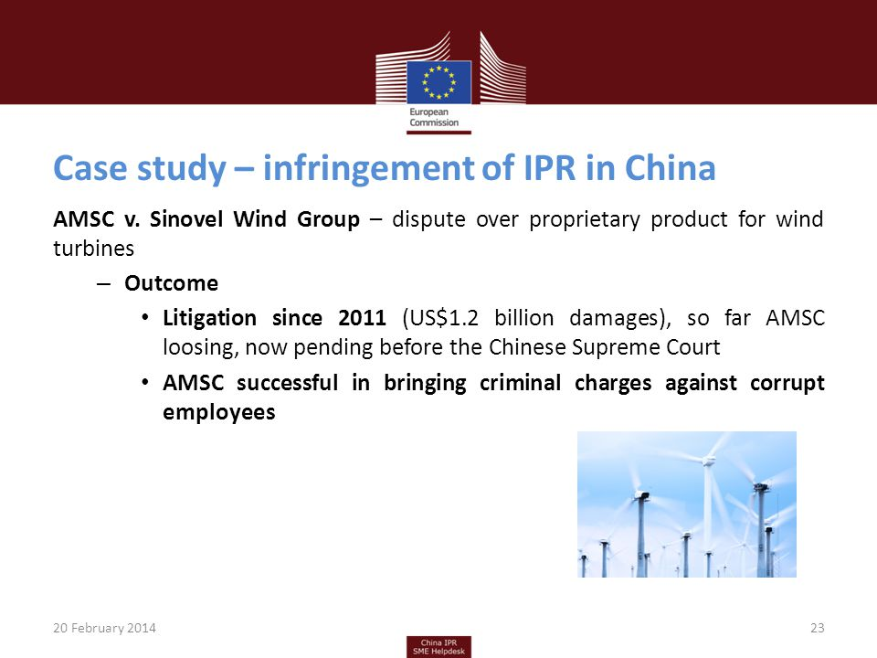 Case study – infringement of IPR in China AMSC v.
