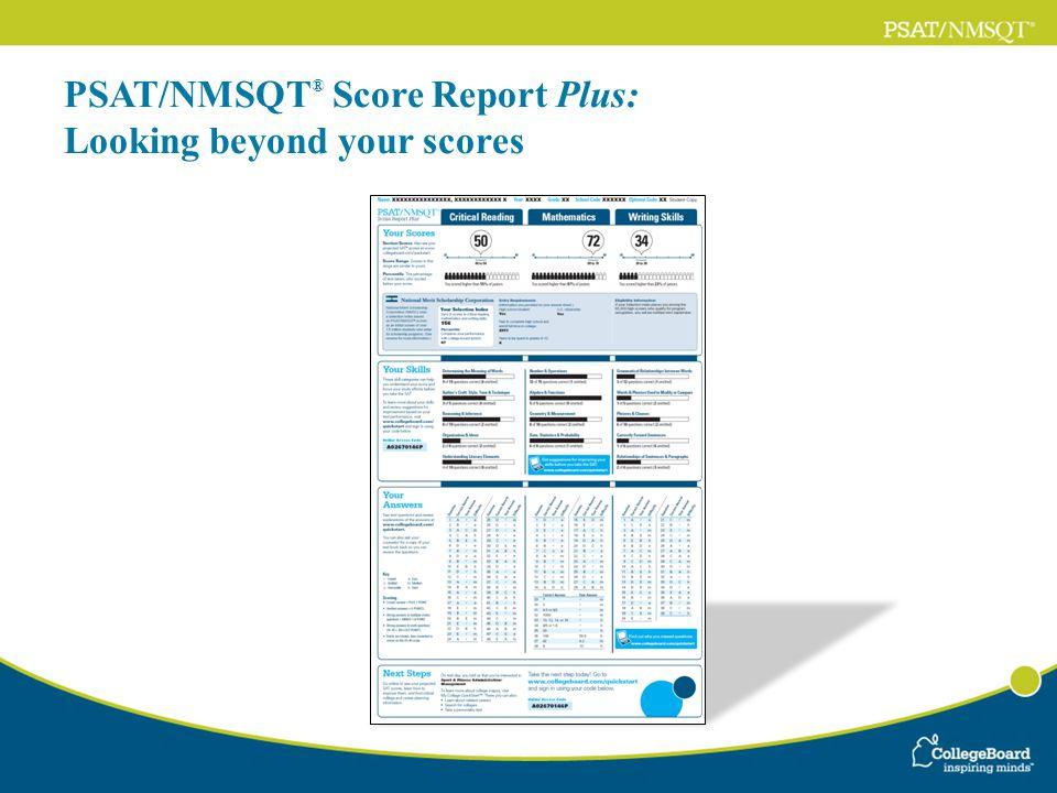 PSAT/NMSQT ® Score Report Plus: Looking beyond your scores