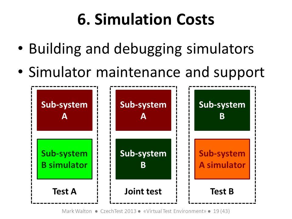 Mark Walton CzechTest 2013 «Virtual Test Environment» 19 (43) Slide 19 (300) 6. Simulation Costs Building and debugging simulators Simulator maintenan