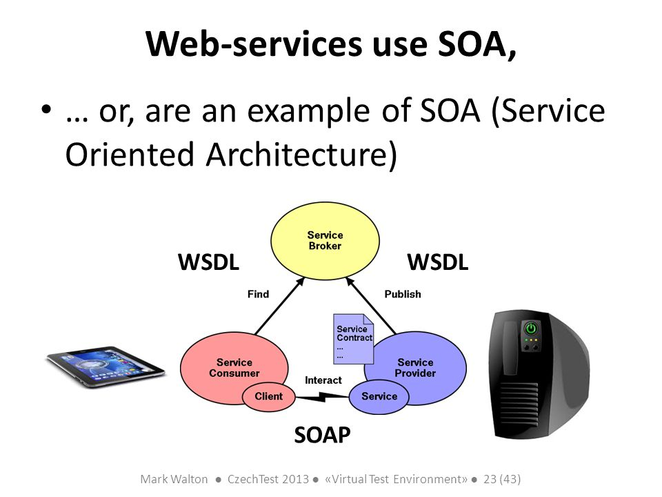 Mark Walton CzechTest 2013 «Virtual Test Environment» 23 (43) Slide 23 (300) Web-services use SOA, … or, are an example of SOA (Service Oriented Architecture) SOAP WSDL
