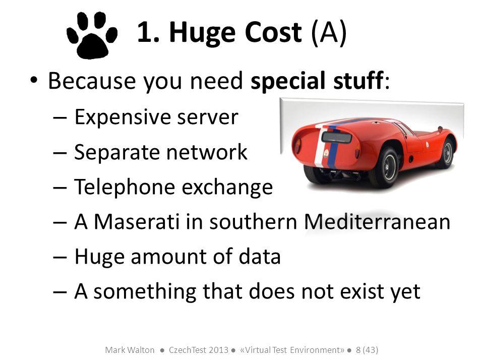 Mark Walton CzechTest 2013 «Virtual Test Environment» 8 (43) Slide 8 (300) 1. Huge Cost (A) Because you need special stuff: – Expensive server – Separ