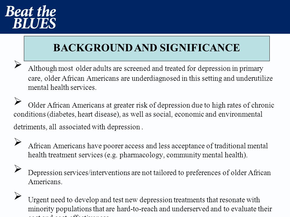 Although most older adults are screened and treated for depression in primary care, older African Americans are underdiagnosed in this setting and und