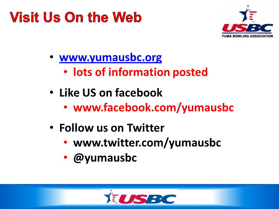 www.yumausbc.org lots of information posted Like US on facebook www.facebook.com/yumausbc Follow us on Twitter www.twitter.com/yumausbc @yumausbc