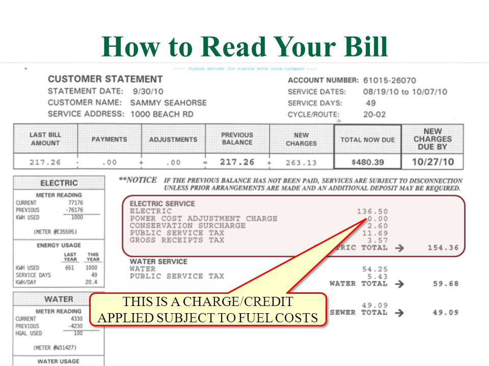 How to Read Your Bill THIS IS A CHARGE/CREDIT APPLIED SUBJECT TO FUEL COSTS