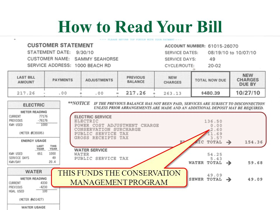 How to Read Your Bill THIS FUNDS THE CONSERVATION MANAGEMENT PROGRAM