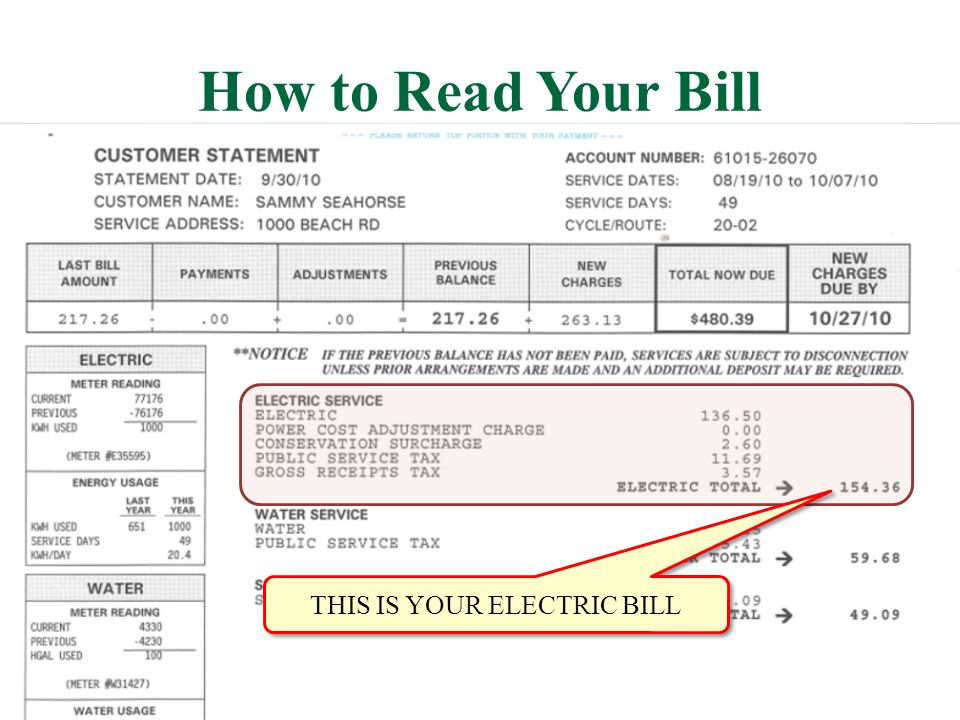 How to Read Your Bill THIS IS YOUR ELECTRIC BILL