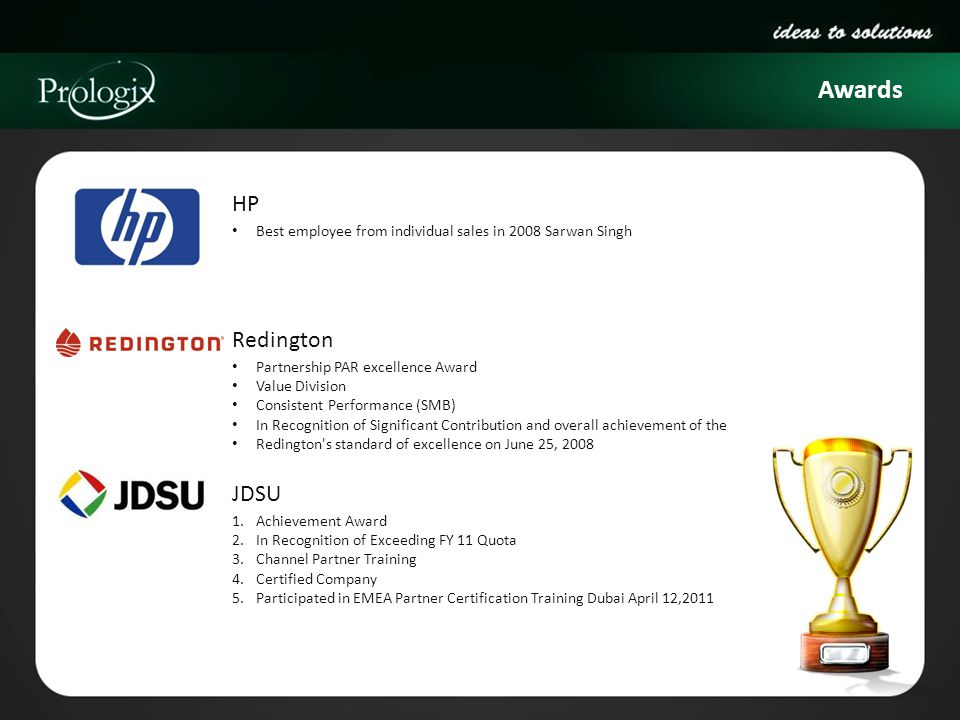Awards HP Best employee from individual sales in 2008 Sarwan Singh Redington Partnership PAR excellence Award Value Division Consistent Performance (S