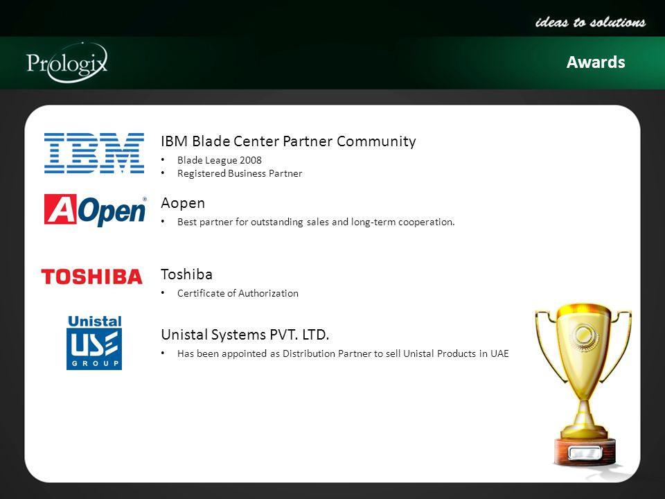 Awards IBM Blade Center Partner Community Blade League 2008 Registered Business Partner Aopen Best partner for outstanding sales and long-term coopera