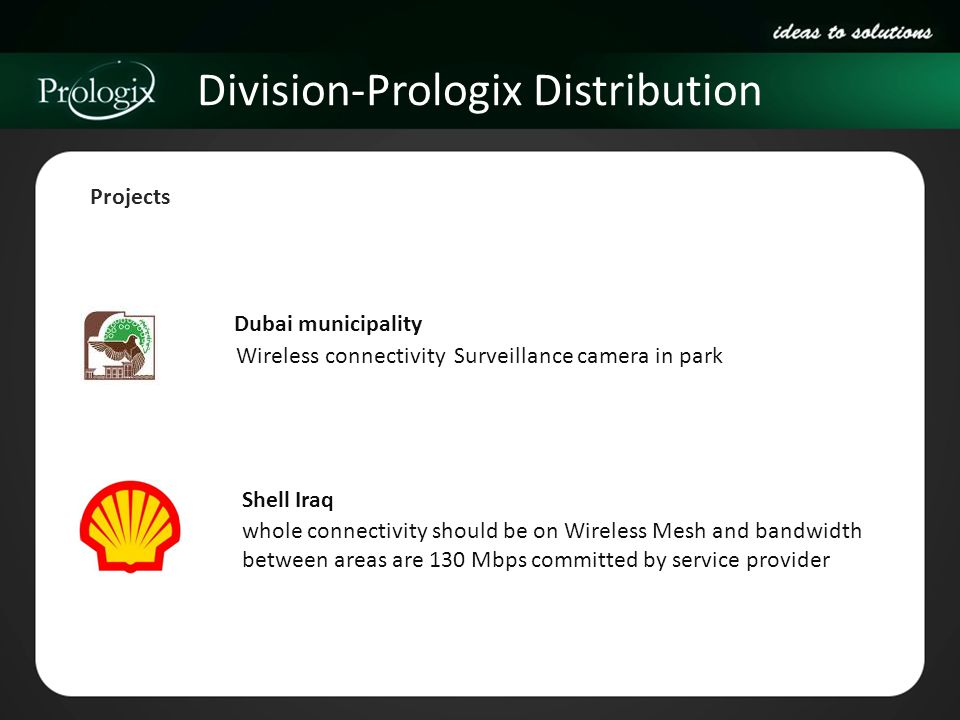 Division-Prologix Distribution Projects Dubai municipality whole connectivity should be on Wireless Mesh and bandwidth between areas are 130 Mbps comm
