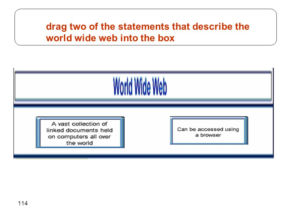 114 drag two of the statements that describe the world wide web into the box