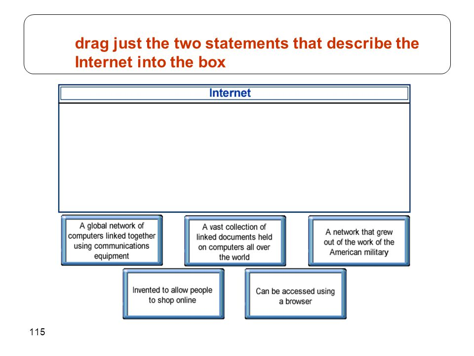 115 drag just the two statements that describe the Internet into the box