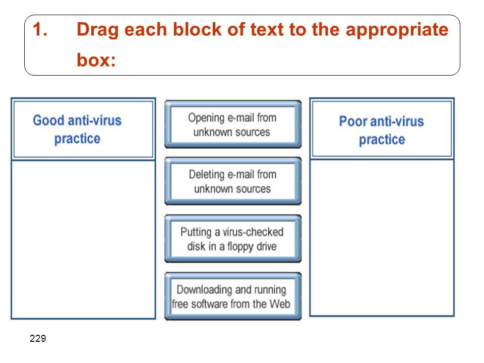 229 1.Drag each block of text to the appropriate box: