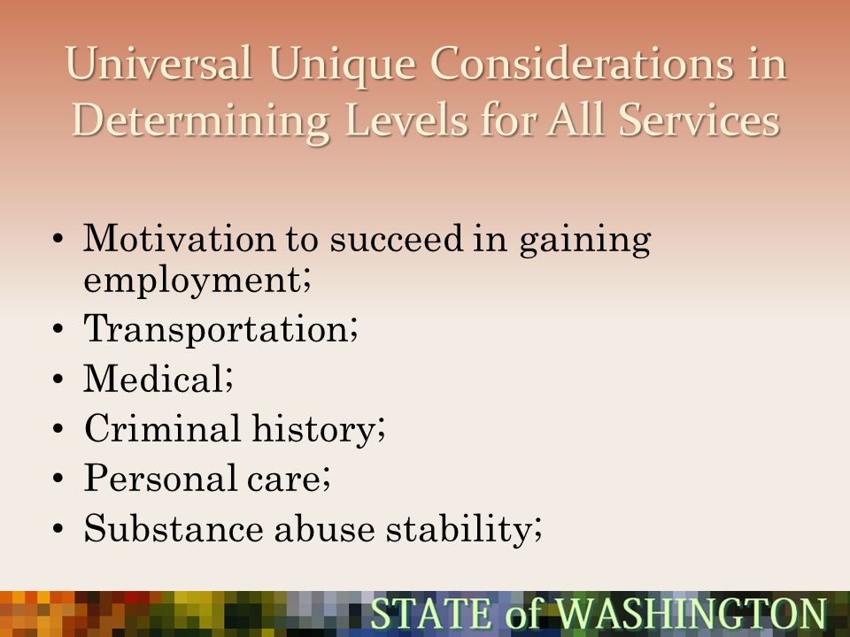 Universal Unique Considerations in Determining Levels for All Services Motivation to succeed in gaining employment; Transportation; Medical; Criminal