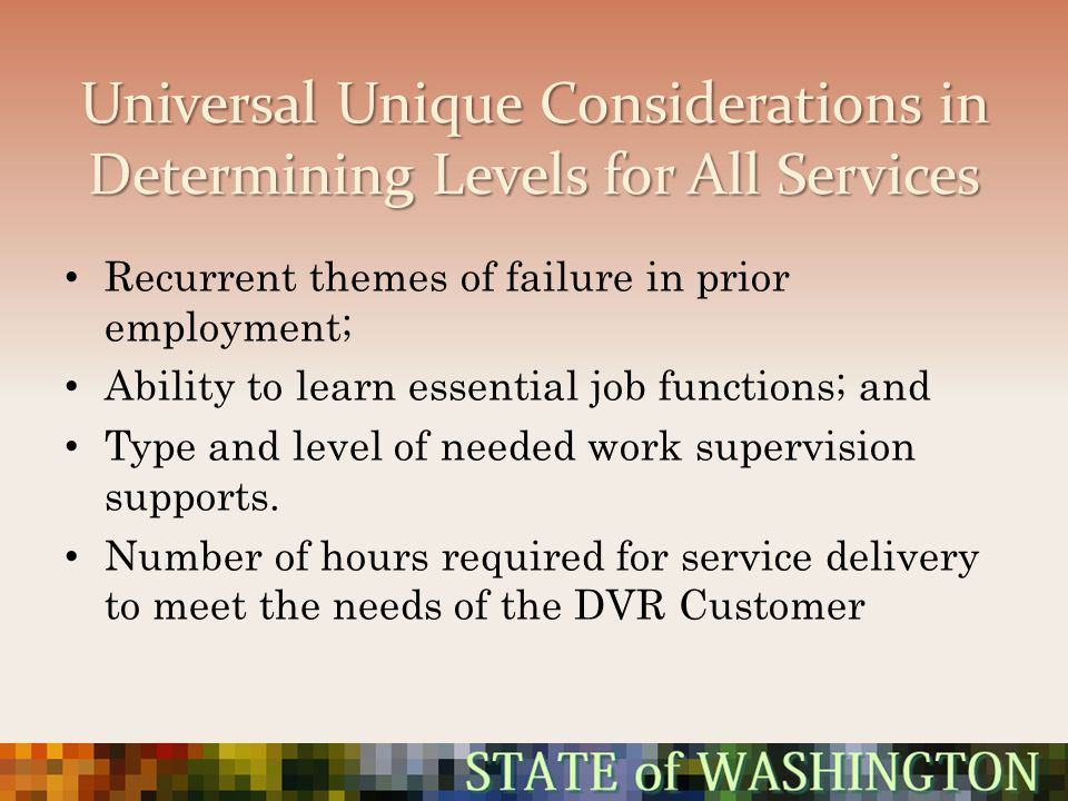 Universal Unique Considerations in Determining Levels for All Services Recurrent themes of failure in prior employment; Ability to learn essential job