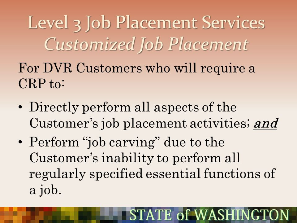 Level 3 Job Placement Services Customized Job Placement For DVR Customers who will require a CRP to: Directly perform all aspects of the Customers job