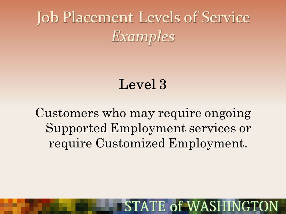 Job Placement Levels of Service Examples Level 3 Customers who may require ongoing Supported Employment services or require Customized Employment.