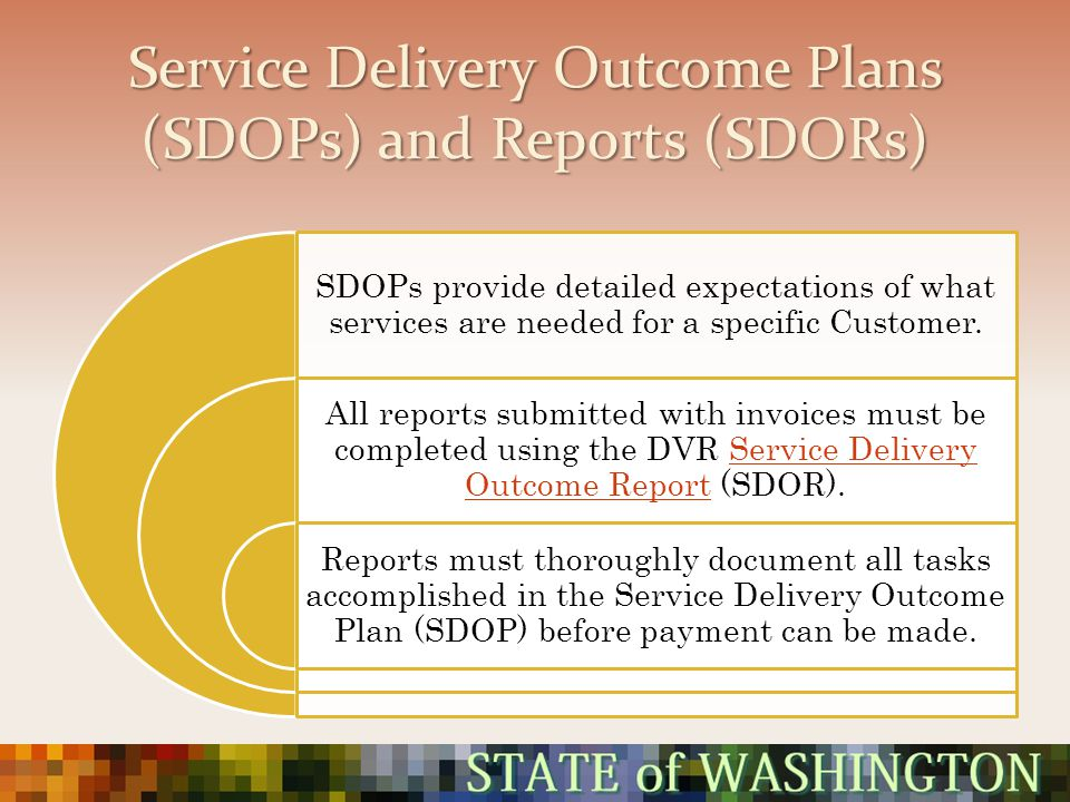 Service Delivery Outcome Plans (SDOPs) and Reports (SDORs) SDOPs provide detailed expectations of what services are needed for a specific Customer. Al