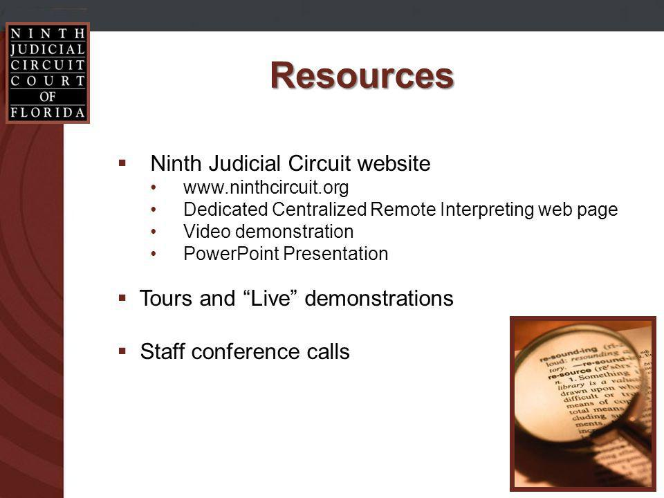 Ninth Judicial Circuit website www.ninthcircuit.org Dedicated Centralized Remote Interpreting web page Video demonstration PowerPoint Presentation Tours and Live demonstrations Staff conference calls Resources