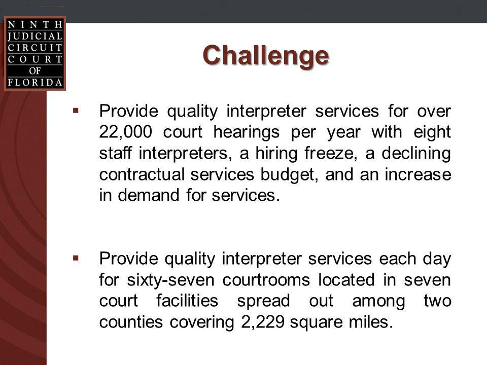 Challenge Provide quality interpreter services for over 22,000 court hearings per year with eight staff interpreters, a hiring freeze, a declining contractual services budget, and an increase in demand for services.