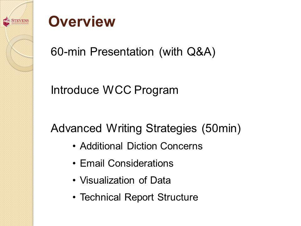 Overview 60-min Presentation (with Q&A) Introduce WCC Program Advanced Writing Strategies (50min) Additional Diction Concerns Email Considerations Vis