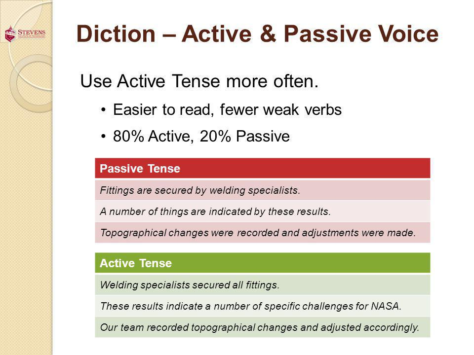 Diction – Active & Passive Voice Use Active Tense more often.