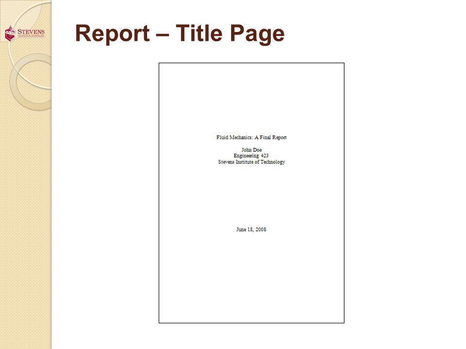Report – Title Page