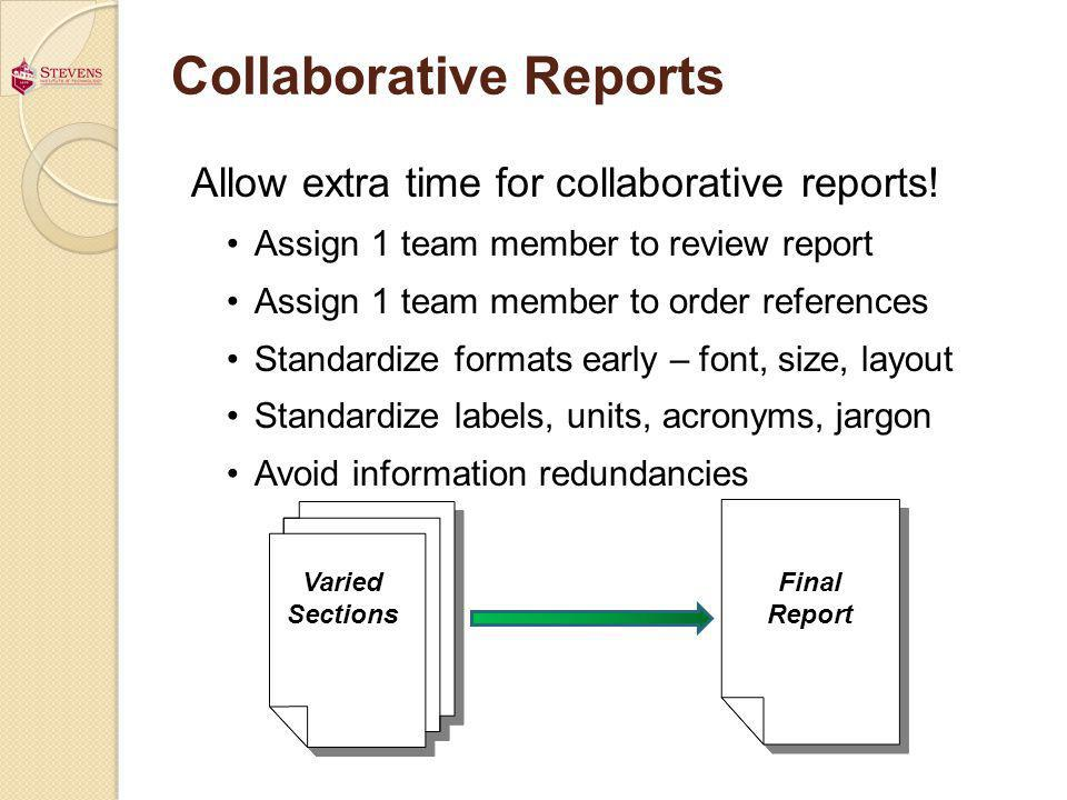 Collaborative Reports Allow extra time for collaborative reports! Assign 1 team member to review report Assign 1 team member to order references Stand