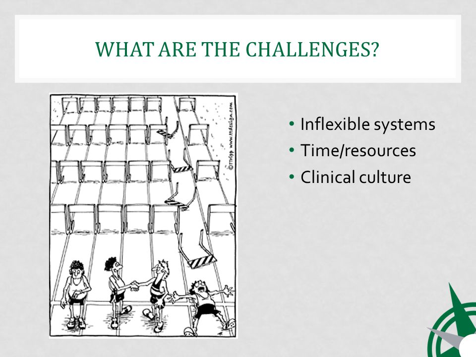 WHAT ARE THE CHALLENGES Inflexible systems Time/resources Clinical culture