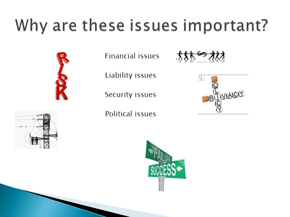Liability issues Financial issues Security issues Political issues