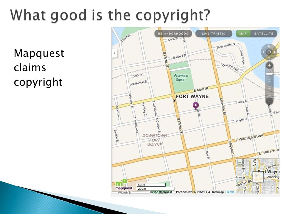 Mapquest claims copyright