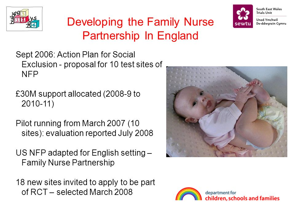 Sept 2006: Action Plan for Social Exclusion - proposal for 10 test sites of NFP £30M support allocated (2008-9 to 2010-11) Pilot running from March 2007 (10 sites): evaluation reported July 2008 US NFP adapted for English setting – Family Nurse Partnership 18 new sites invited to apply to be part of RCT – selected March 2008 Developing the Family Nurse Partnership In England