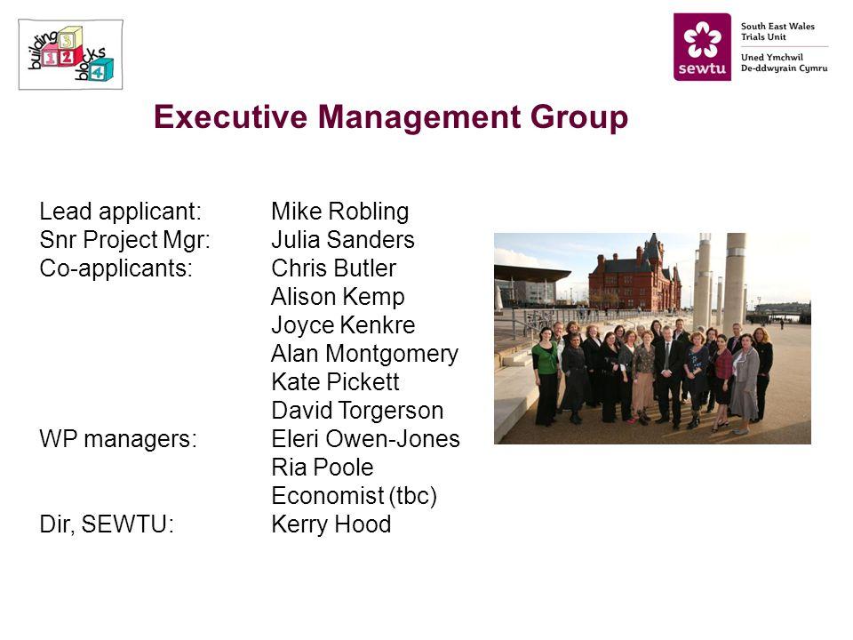 Executive Management Group Lead applicant:Mike Robling Snr Project Mgr:Julia Sanders Co-applicants:Chris Butler Alison Kemp Joyce Kenkre Alan Montgome
