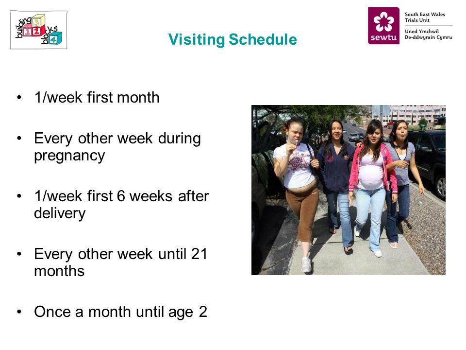 Visiting Schedule 1/week first month Every other week during pregnancy 1/week first 6 weeks after delivery Every other week until 21 months Once a month until age 2
