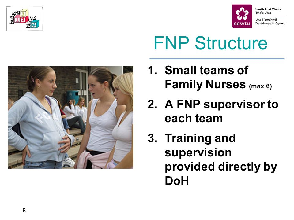 8 FNP Structure 1.Small teams of Family Nurses (max 6) 2.A FNP supervisor to each team 3.Training and supervision provided directly by DoH