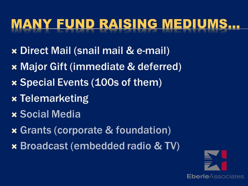 Direct Mail (snail mail & e-mail) Major Gift (immediate & deferred) Special Events (100s of them) Telemarketing Social Media Grants (corporate & foundation) Broadcast (embedded radio & TV)