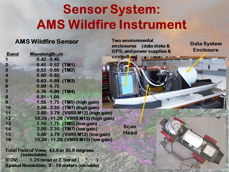 AMS Wildfire Sensor Two environmental enclosures (data disks & GPS; and power supplies & controllers) Scan Head Data System Enclosure Sensor System: A