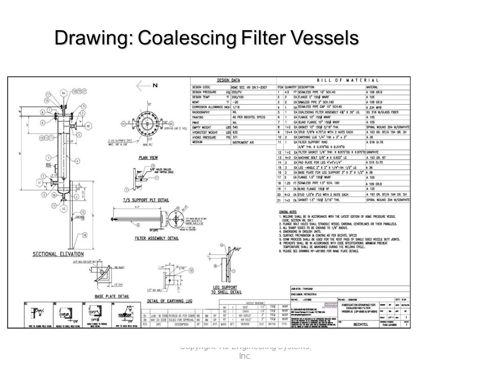 Drawing: Coalescing Filter Vessels Copyright: RJ Engineering Systems, Inc.