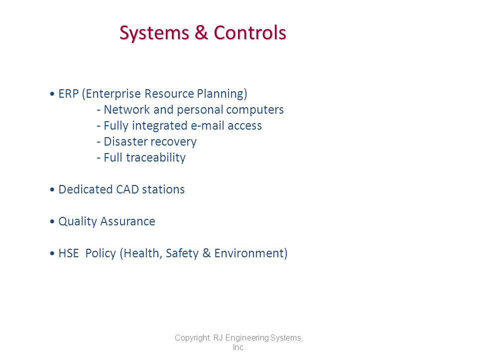 Systems & Controls Copyright: RJ Engineering Systems, Inc.