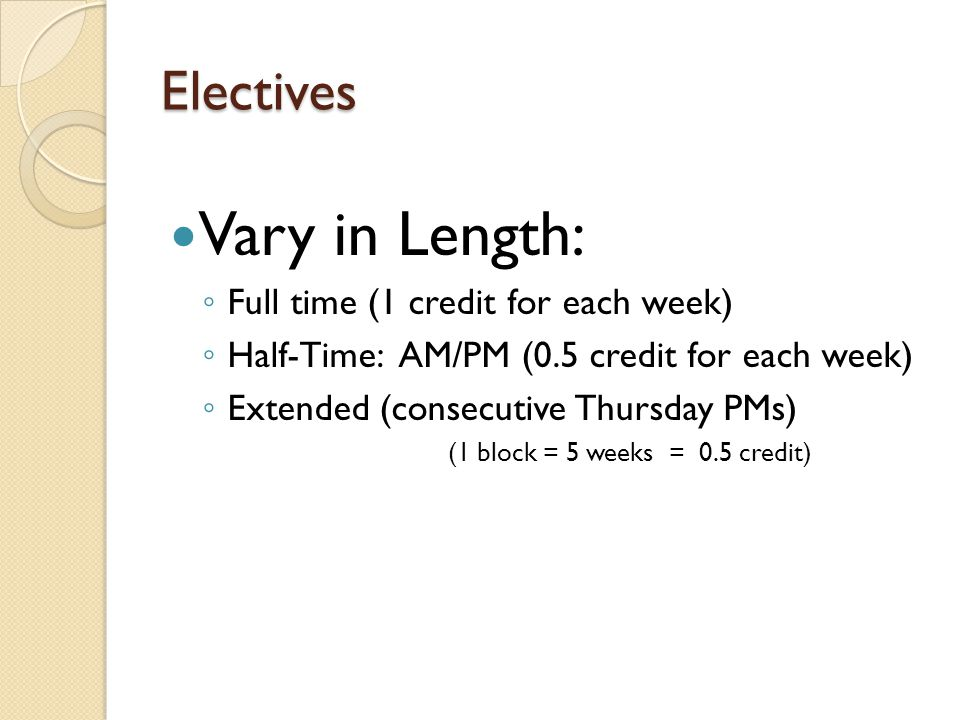 Electives Vary in Length: Full time (1 credit for each week) Half-Time: AM/PM (0.5 credit for each week) Extended (consecutive Thursday PMs) (1 block = 5 weeks = 0.5 credit)