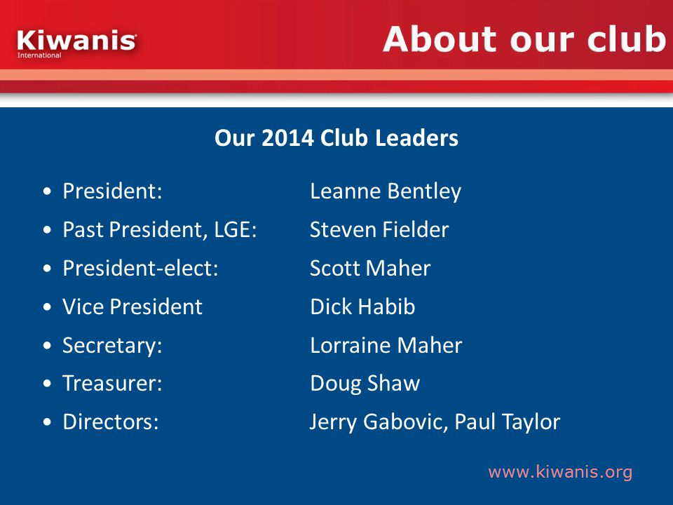www.kiwanis.org About our club Our 2014 Club Leaders President: Leanne Bentley Past President, LGE: Steven Fielder President-elect: Scott Maher Vice PresidentDick Habib Secretary: Lorraine Maher Treasurer: Doug Shaw Directors:Jerry Gabovic, Paul Taylor