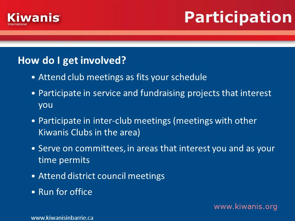 www.kiwanis.org Participation How do I get involved.