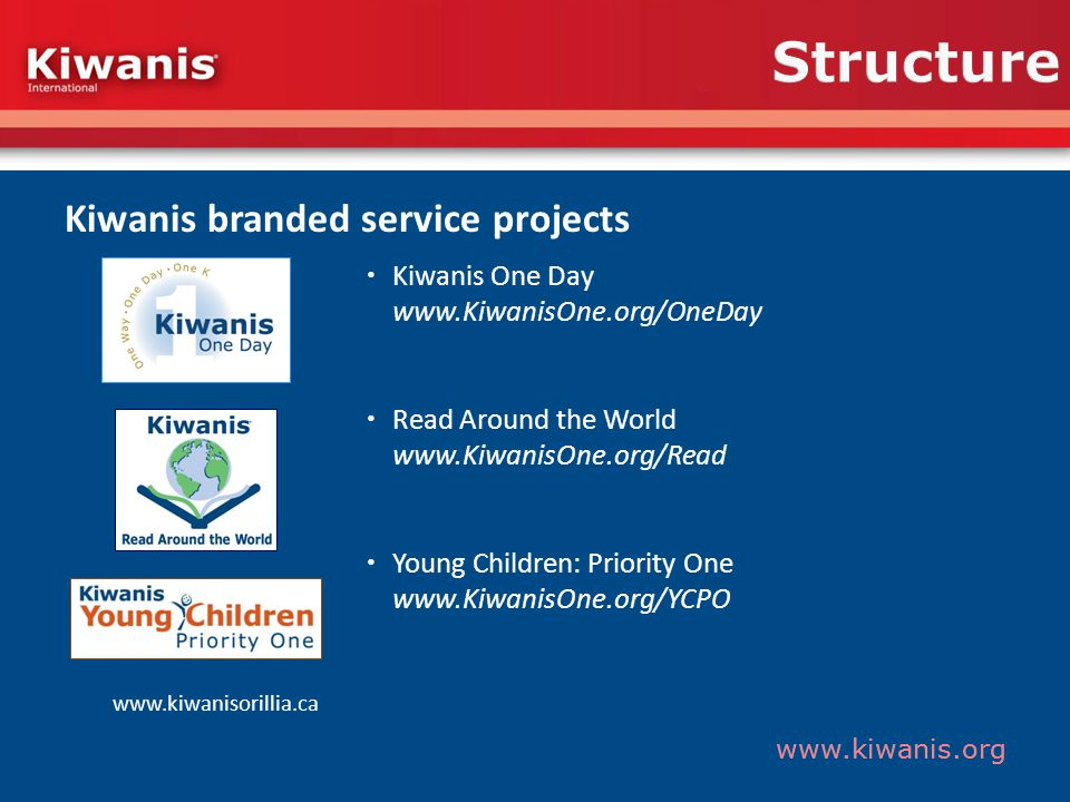 www.kiwanis.org Structure Kiwanis branded service projects Kiwanis One Day www.KiwanisOne.org/OneDay Read Around the World www.KiwanisOne.org/Read Young Children: Priority One www.KiwanisOne.org/YCPO www.kiwanisorillia.ca