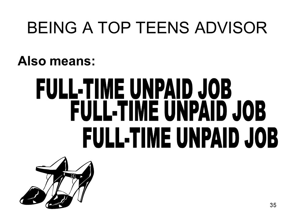 35 BEING A TOP TEENS ADVISOR Also means: