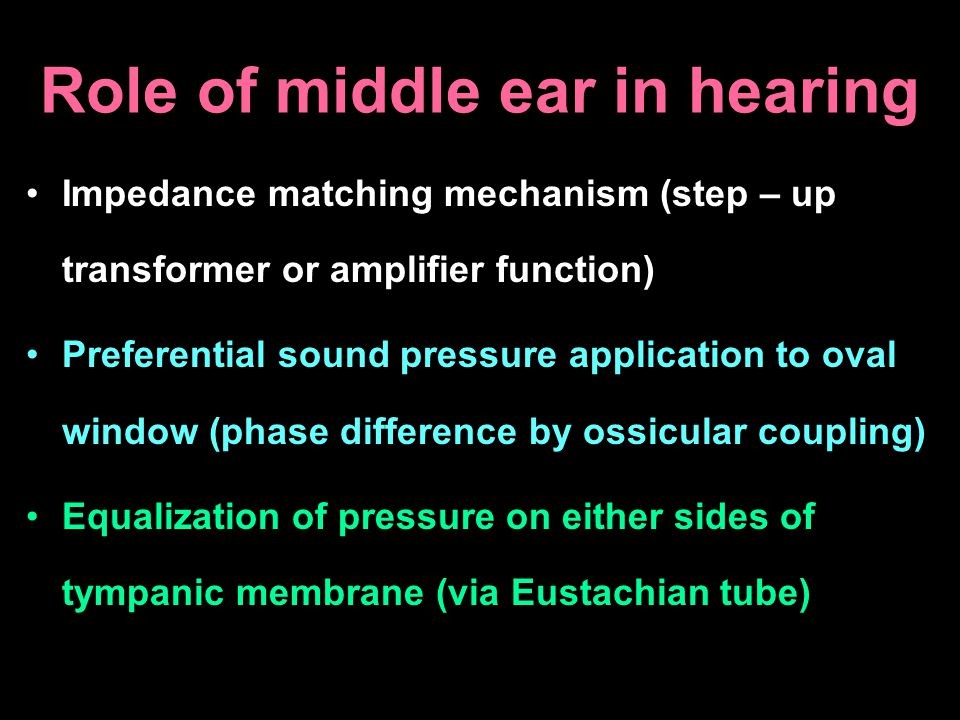 Role of middle ear in hearing Impedance matching mechanism (step – up transformer or amplifier function) Preferential sound pressure application to ov