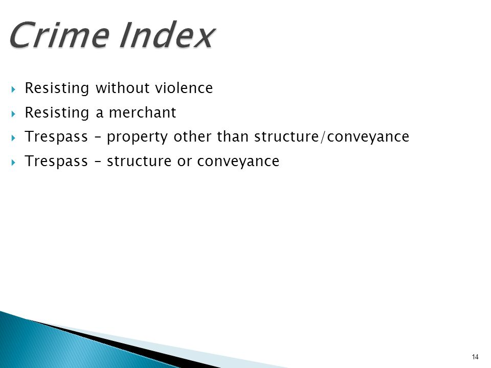 Crime Index Resisting without violence Resisting a merchant Trespass – property other than structure/conveyance Trespass – structure or conveyance 14