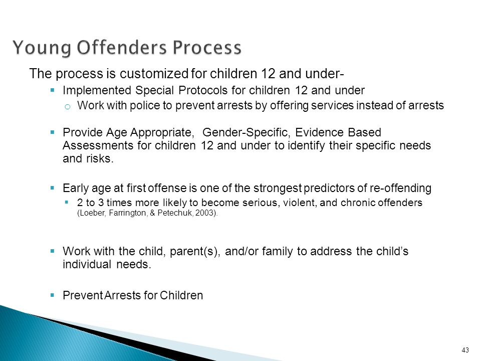 Young Offenders Process The process is customized for children 12 and under- Implemented Special Protocols for children 12 and under o Work with polic